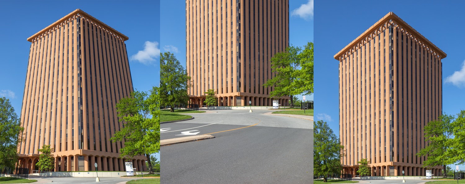 1. The first image on the left is shot looking up, causing the building to appear smaller at the top and wider at the bottom. 2. Once the camera is leveled, the building evens out but the angle doesn't make for a great shot. 3. Using a tilt/shift lens allows the composition to be shifted to fit the buildings top and get a more appealing composition.