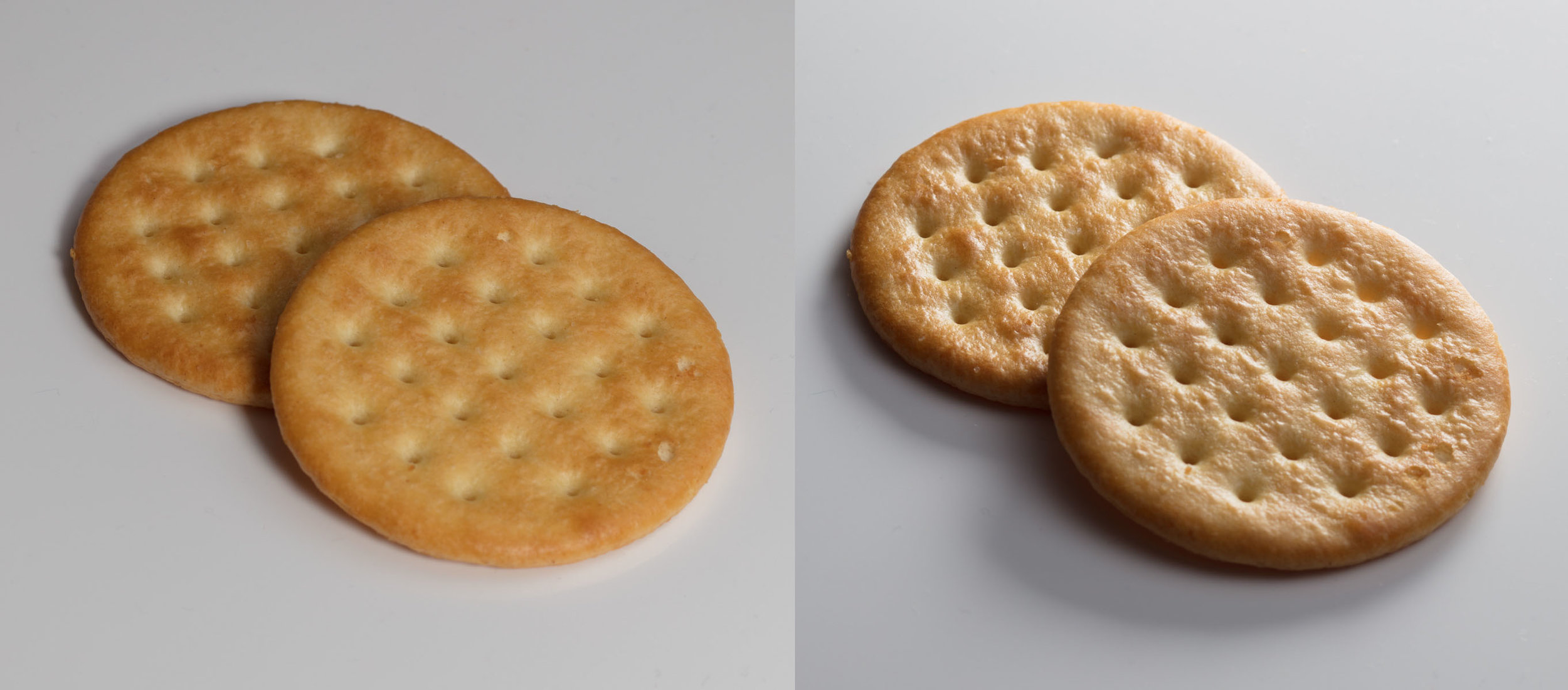 Just one more demonstration. The image on the left was shot in what would be lovely portrait lighting, but does nothing to show the texture. The image on right was shot with a raking light, low down, so that it skims over the surface and reveals all of the texture.