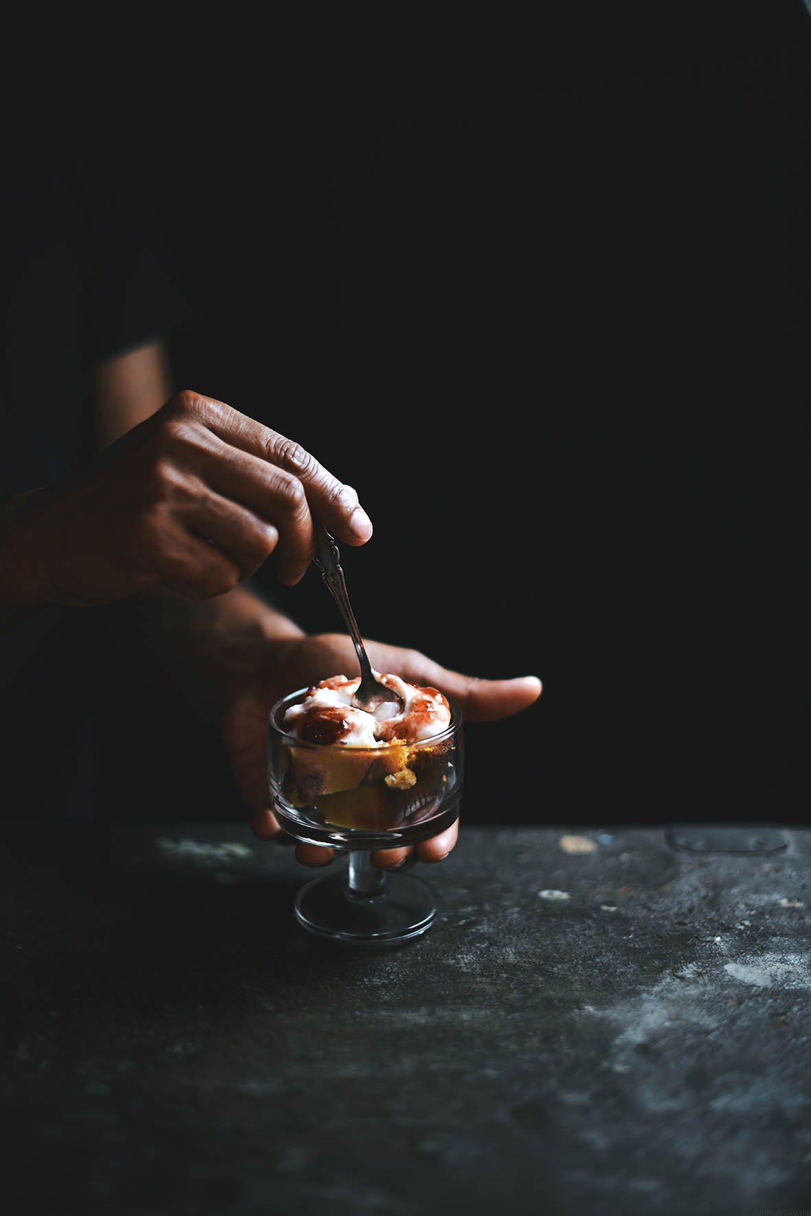 black pepper honey rhubarb cake trifle with strawberry jam and yogurt | A Brown Table