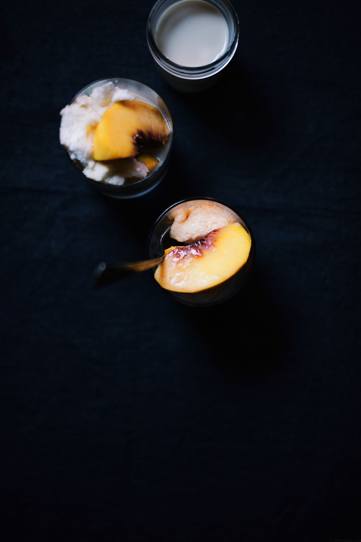 peach and vanilla cake with spiced almond milk| A Brown Table