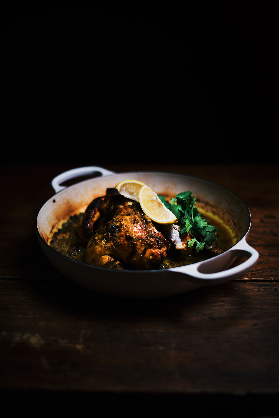 Turmeric and Yogurt Spiced Oven Roasted Chicken| A Brown Table