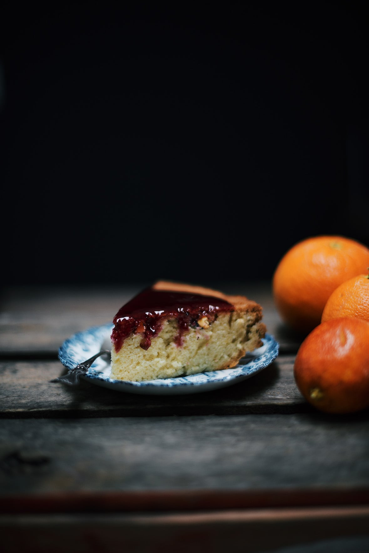 toasted pistachio cake with blood orange sauce| A Brown Table