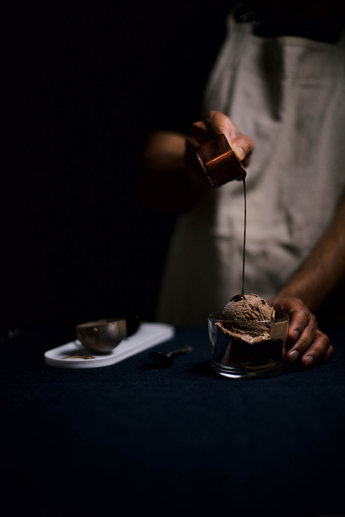 double chocolate ice cream with chocolate bourbon fudge sauce | A Brown Table