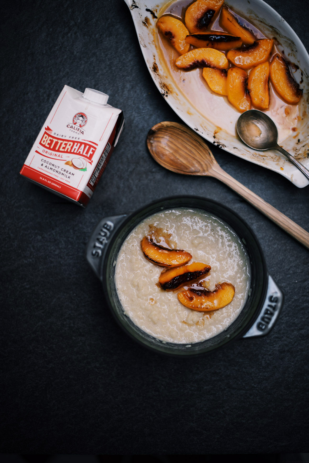 peach brûlée with chamomile infused rice pudding |A Brown Table