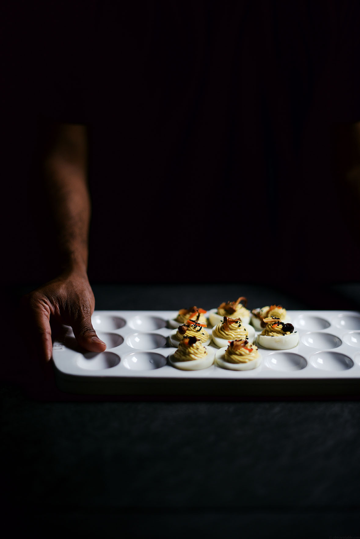 easy brown miso and kimchi deviled eggs with fried mushrooms | A Brown Table
