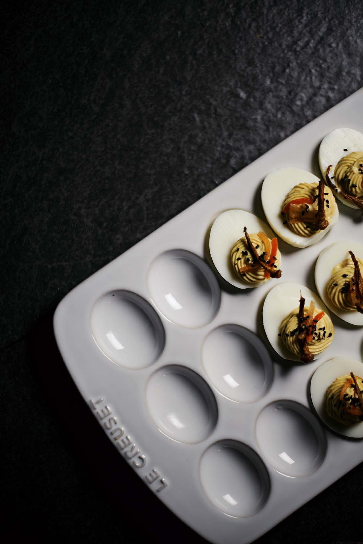 easybrown miso and kimchi deviled eggs with fried mushrooms | A Brown Table