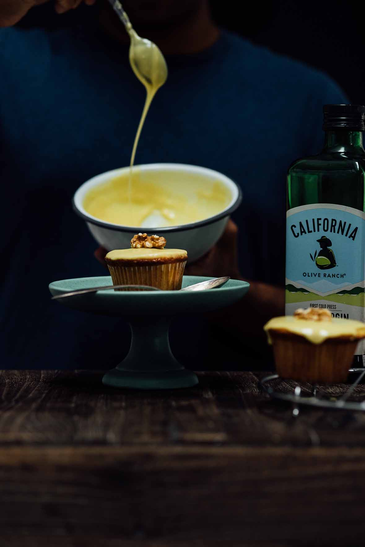 spiced olive oil peach and bourbon cupcakes  A Brown Table