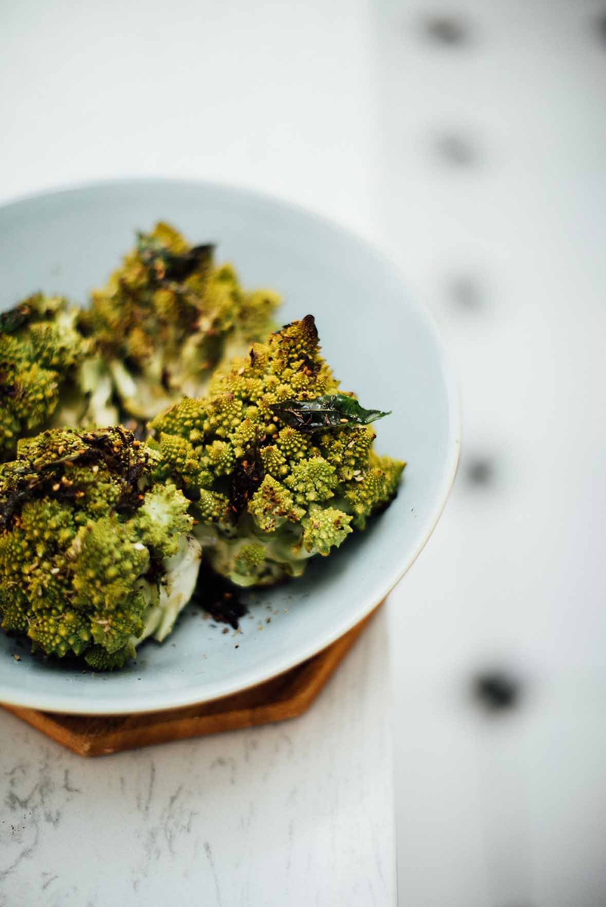 roasted romanesco with garlic and curry leaf | A Brown Table