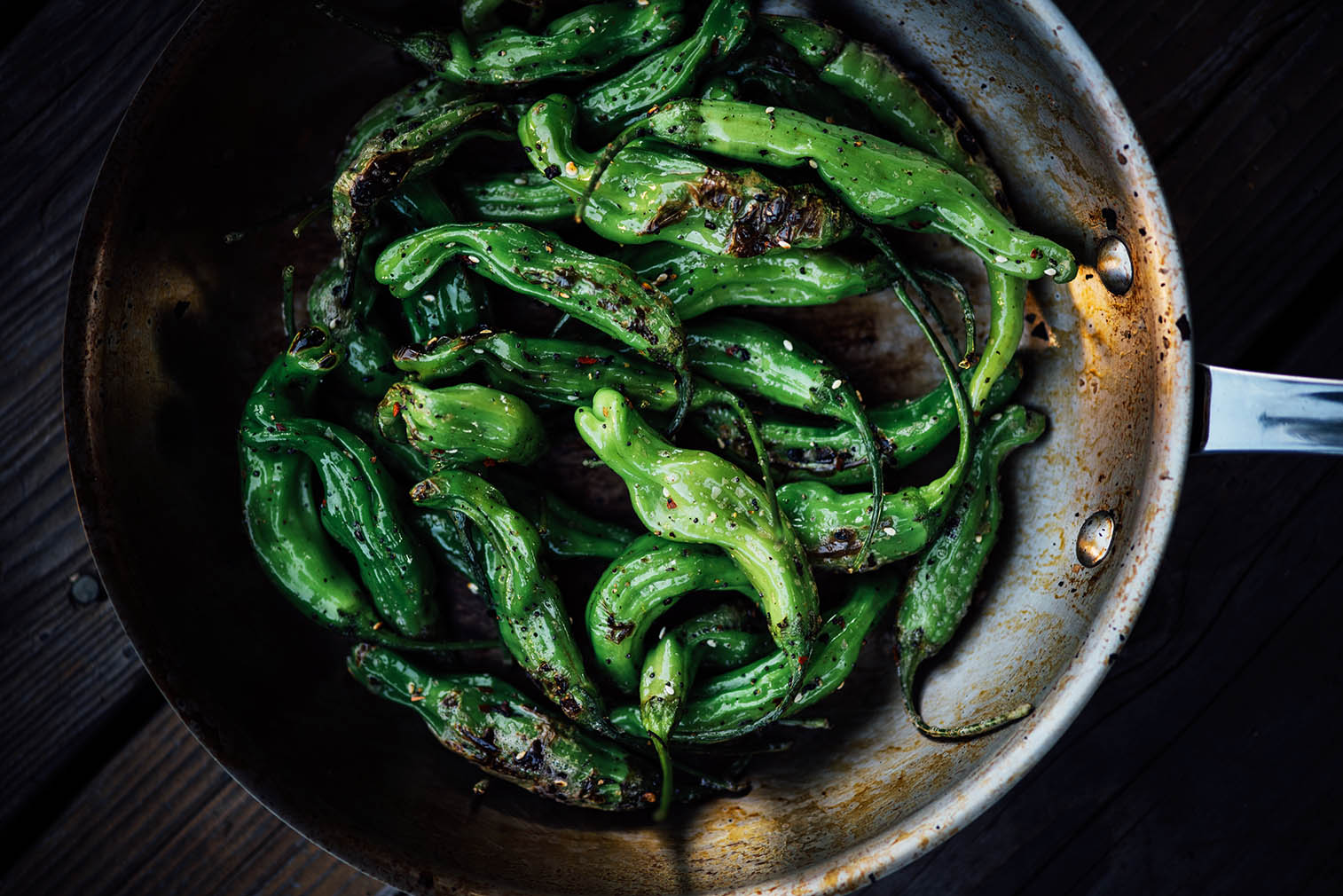 blistered shishito peppers with shichimi togarashi| A Brown Table