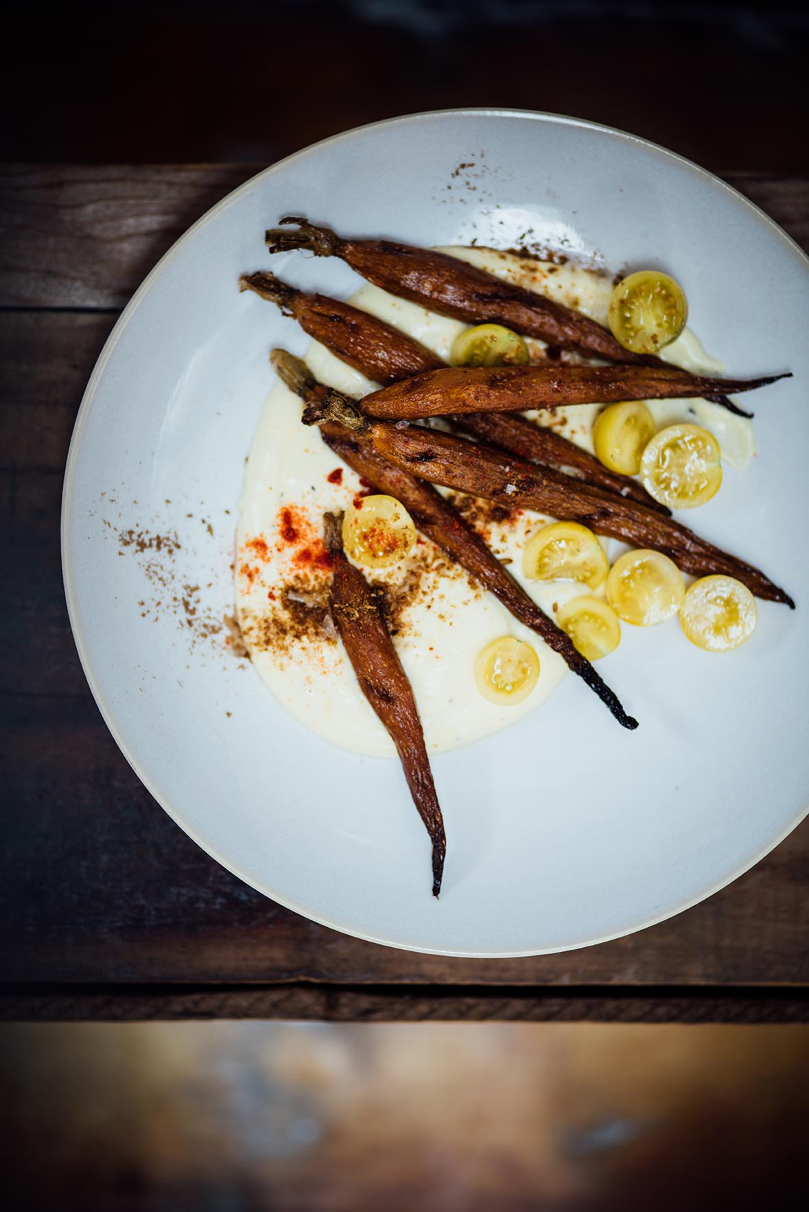 smoked carrots with turmeric creme fraiche | A Brown Table
