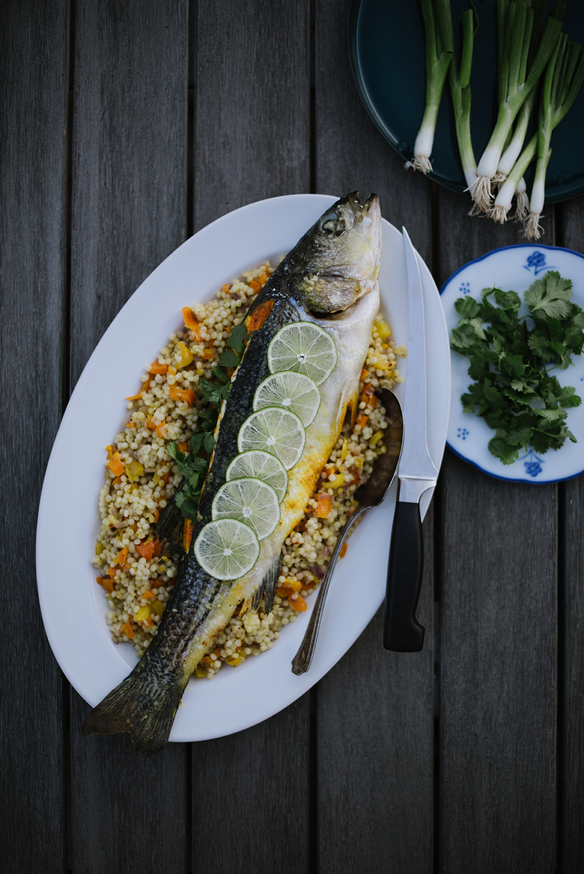 Turmeric Seasoned Sea Bass with Saffron Scented Couscous | Nik Sharma for @SFChronicle