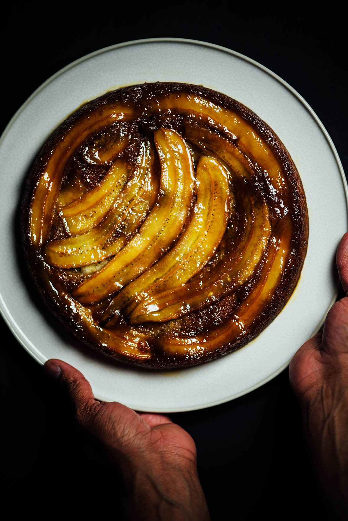 ghee and cardamom scented upside down banana cake | Nik Sharma