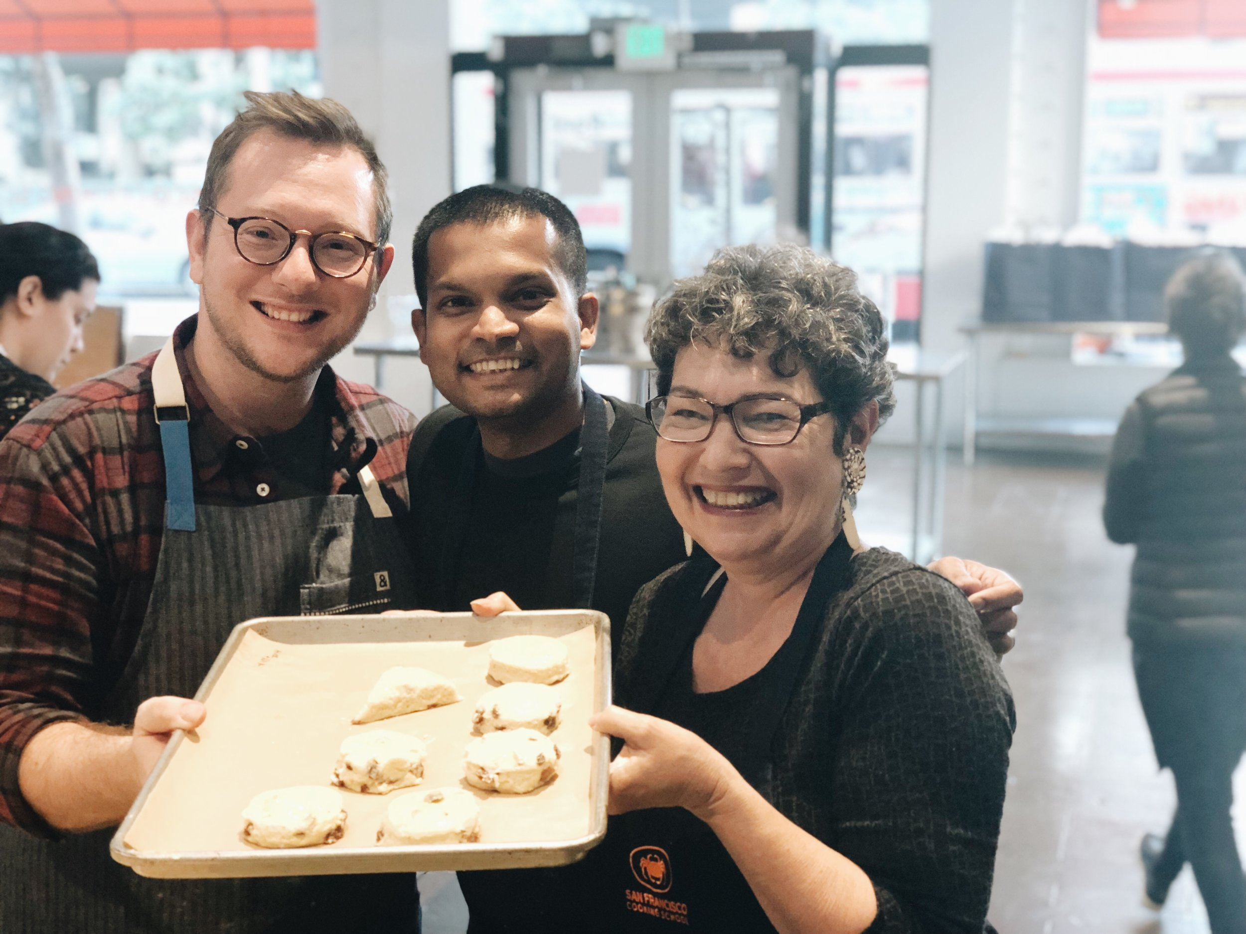 Edd Kimber, Nik Sharma and Alice Medrich at SF Cooking School | Nik Sharma Photography