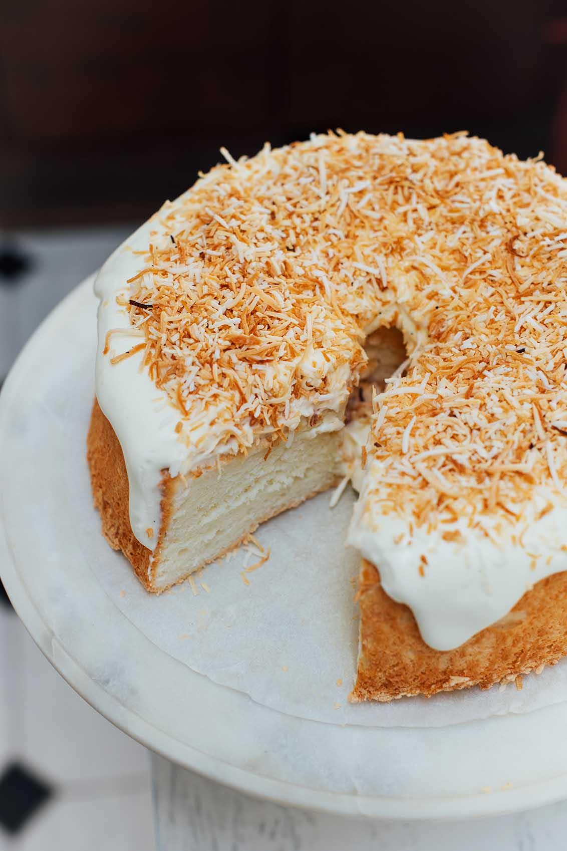 cardamom and toasted coconut angel food cake | Nik Sharma