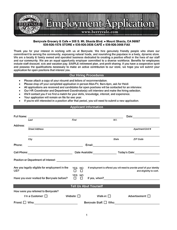 Download the Berryvale Employment Application