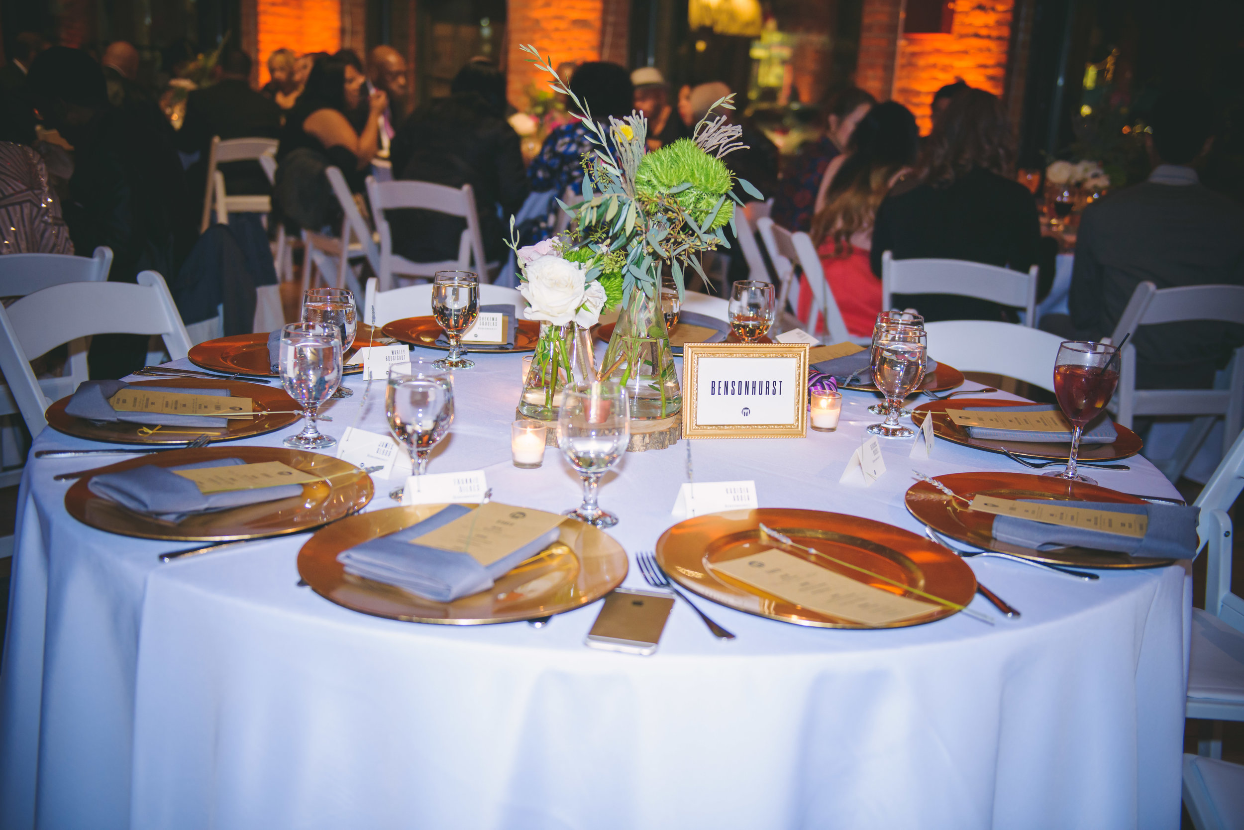 Great detail shot of their centerpieces and tablescape.