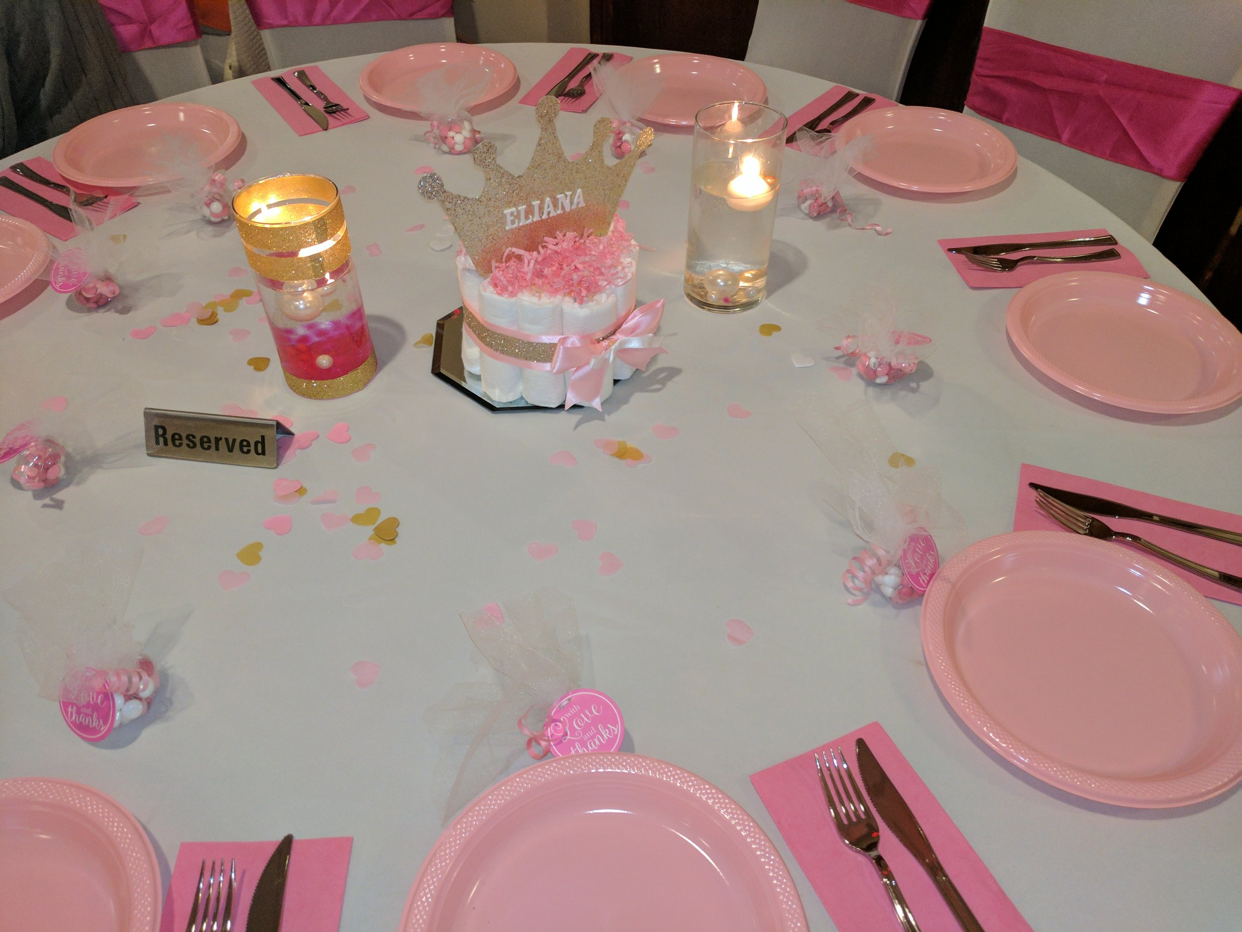 These handmade diaper cake centerpieces added the finishing touches to the tablescape!