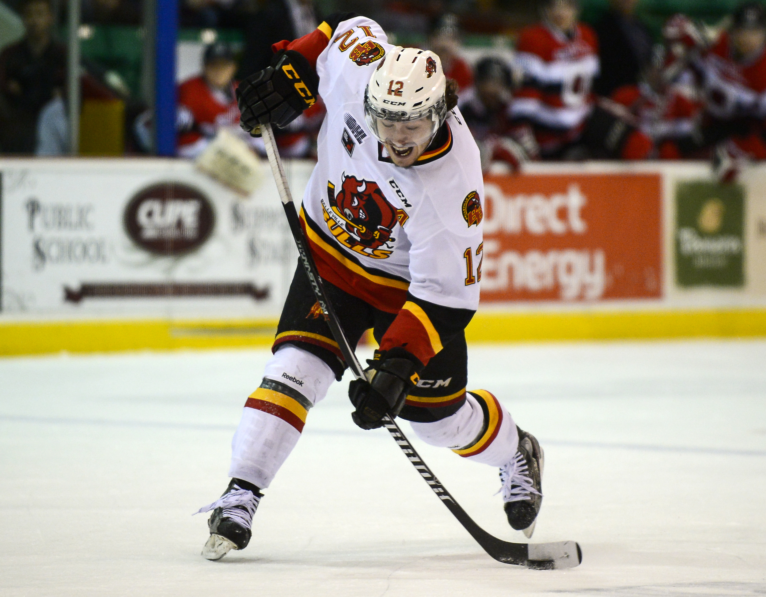 Belleville Bulls forward Remi Elie blasts a shot during first period play against the Ottawa 67s at Yardmen Arena in Belleville, Ont. on December 3, 2014. Bulls beat the 67s 5-4.