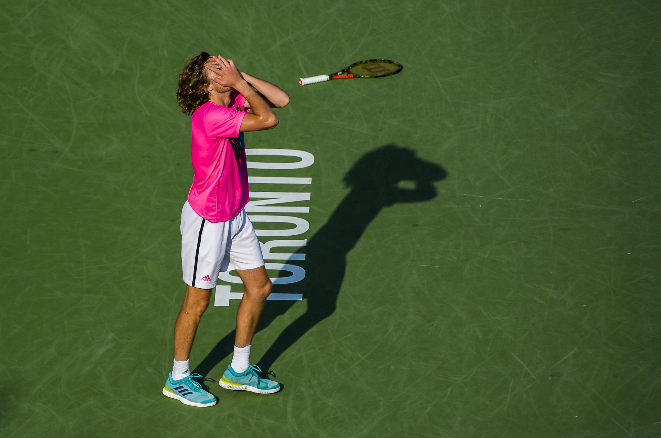 Stefanos Tsitsipas reacts after defeating Kevin Anderson in the semi-finals at the Rogers Cup on August 11, 2018 in Toronto, Canada.
