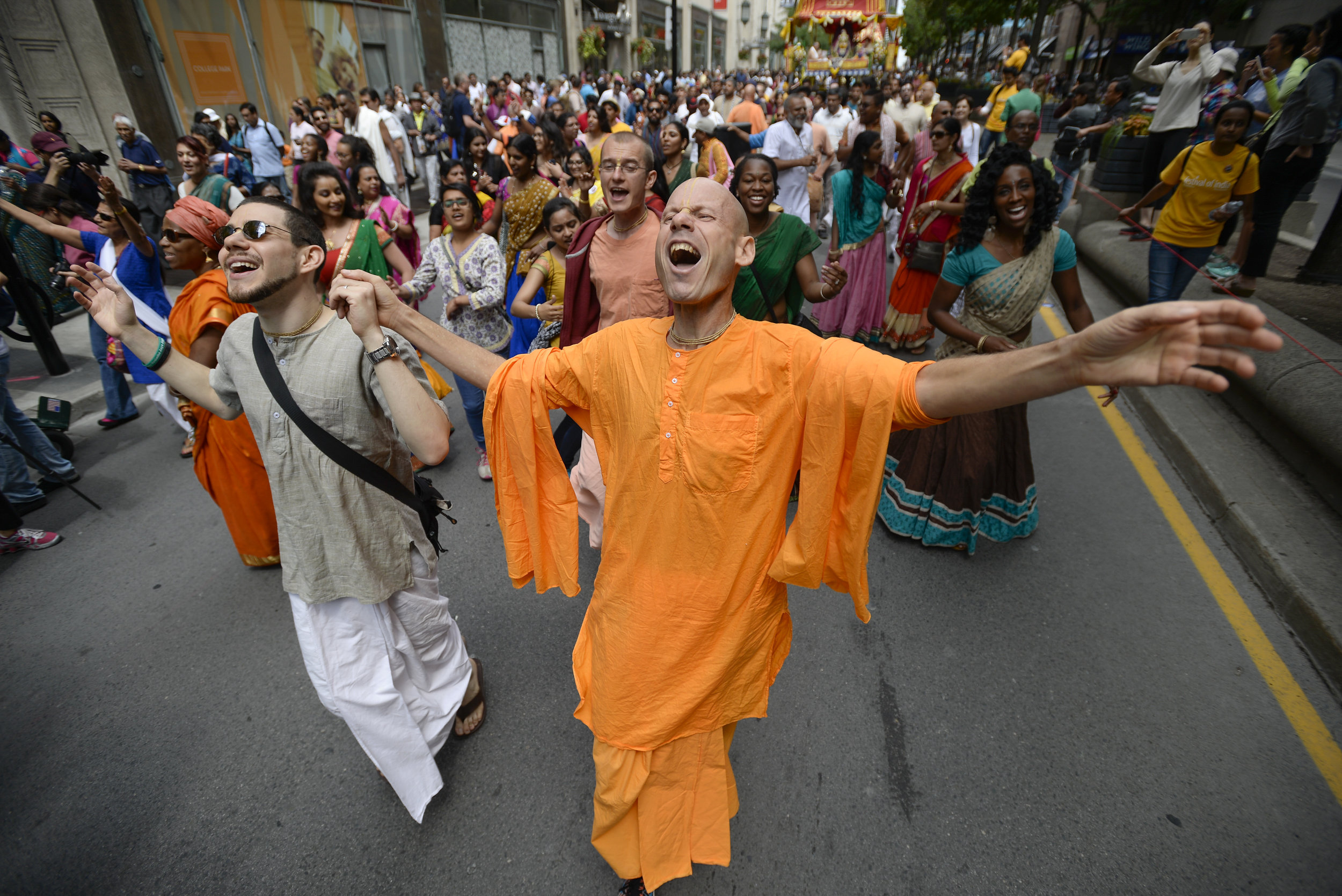 Hundreds of people paraded down Yonge St. during the 44th annual International Society for Krishna Consciousness religious and cultural parade  in Toronto, Ont. on July 16, 2016.