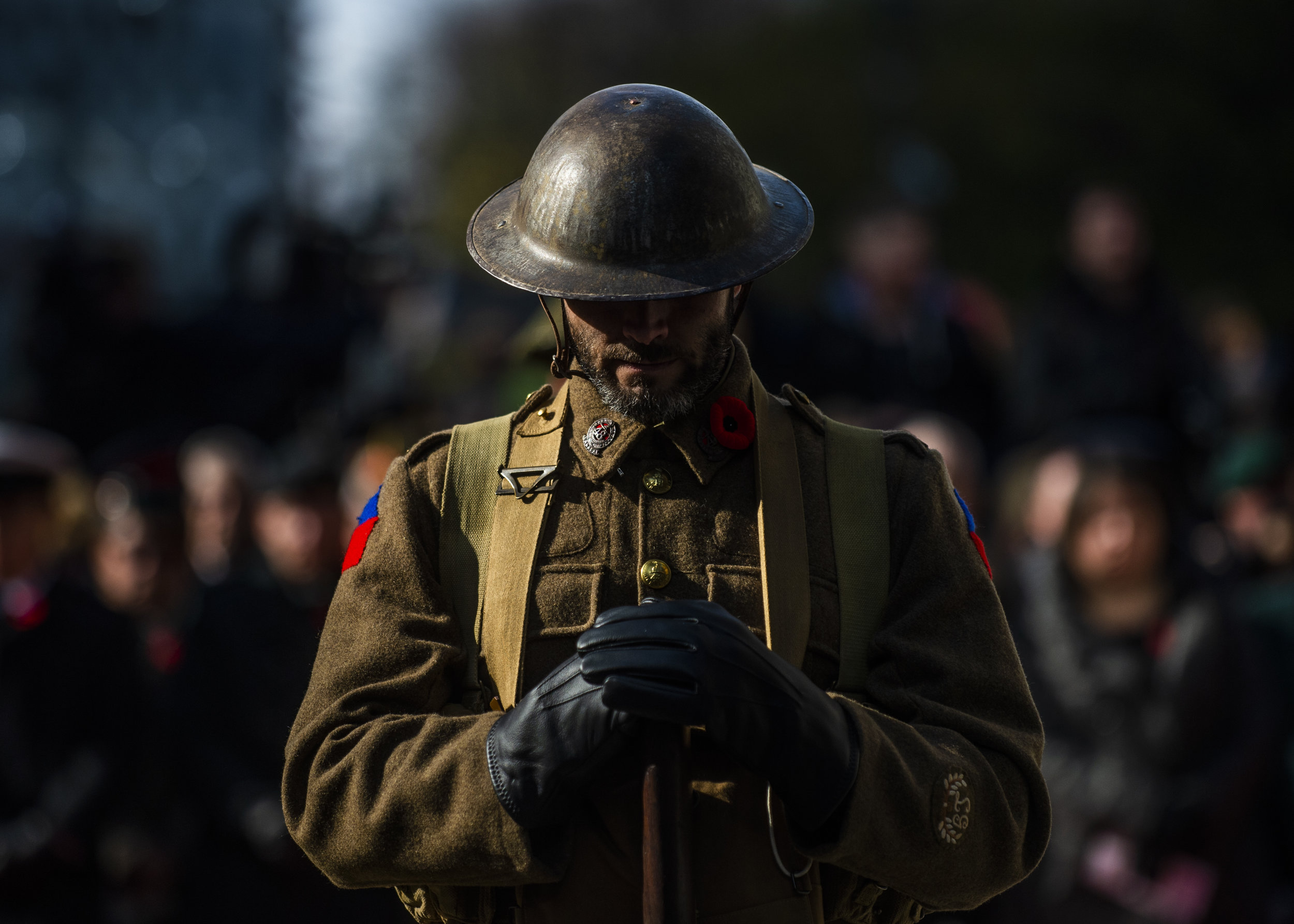 A soldier stands guard at the Old City Hall Cenotaph during a Remembrance Day ceremony in Toronto, Ont. on November 11, 2018.