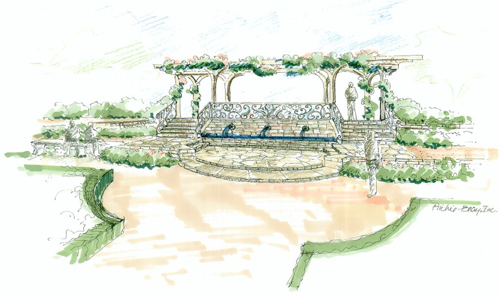 Concept sketch of the entrance to the SCBG Rose Garden