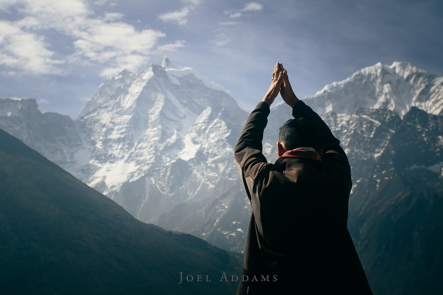 Morning Yoga with our Sherpa guides out of Pangboche. Photo by Joel Addams