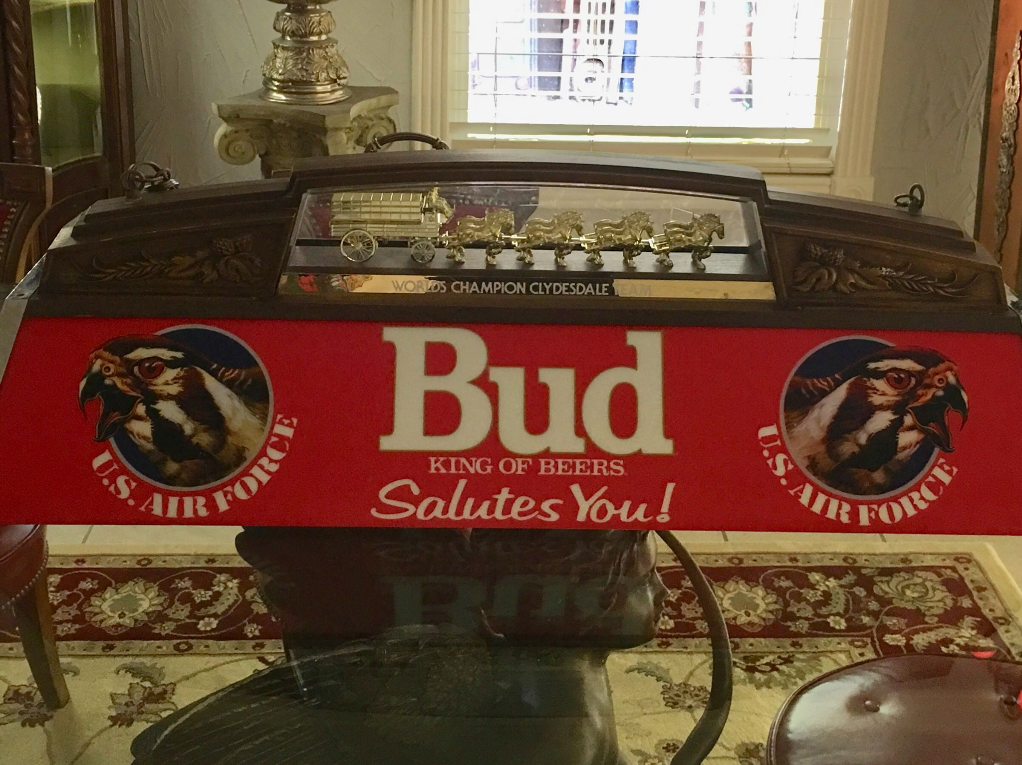 Budweiser Air force Clydesdale working Pool Table Light