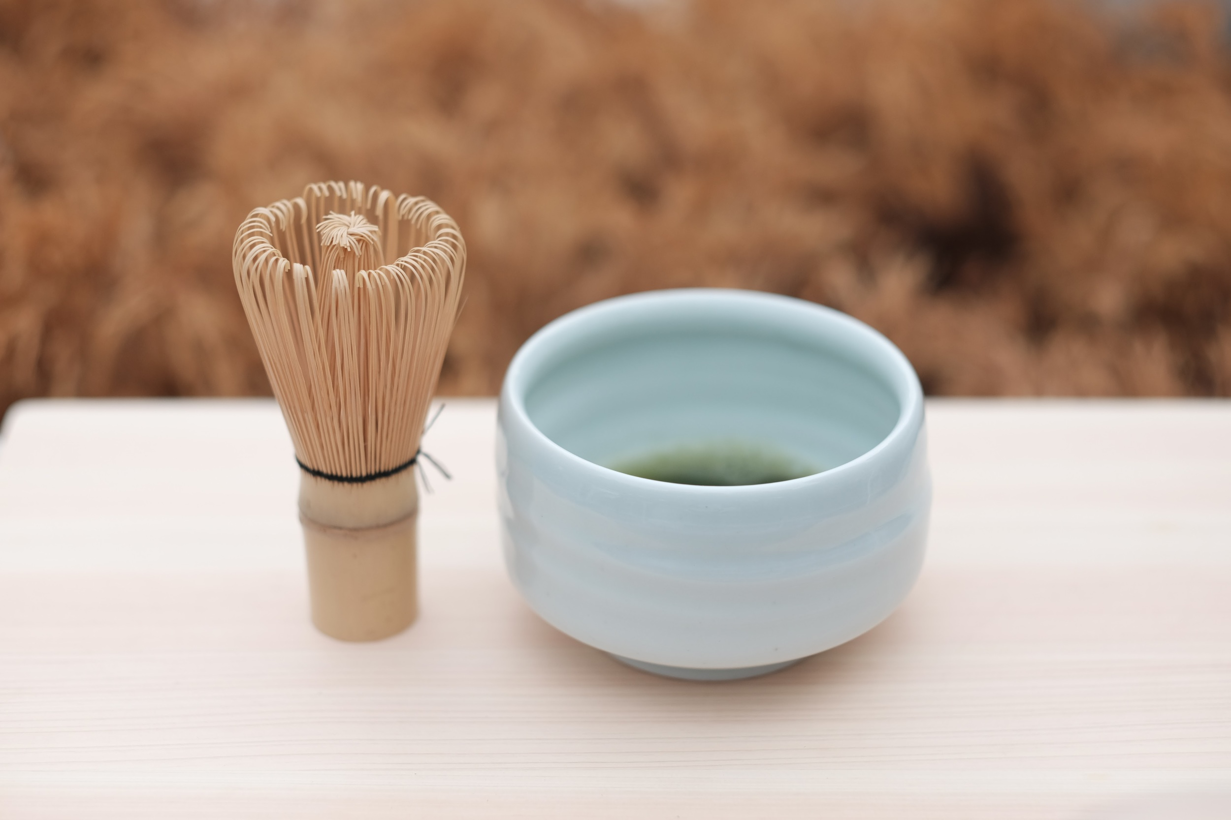 To make matcha you'll need access to hot water, a matcha whisk, matcha bowl and of course matcha!
