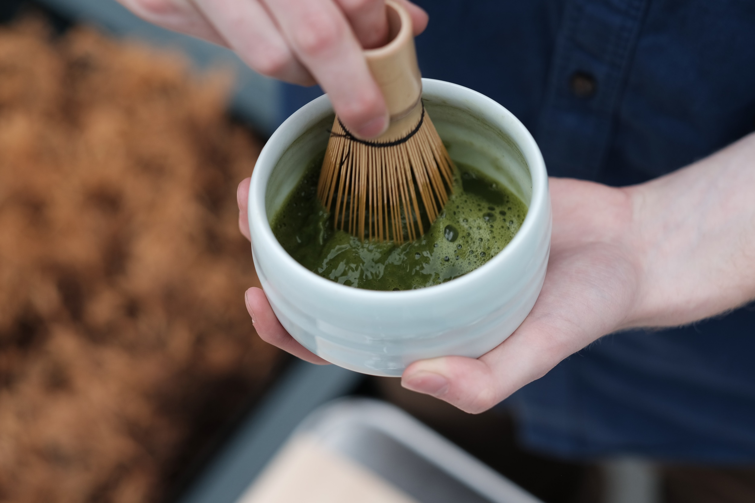 "Whisk away! We recommend briskly whisking in a ""M"" motion until the matcha is nice and frothy. Enjoy! (Note: Remember to whisk again if matcha is left sitting.)"