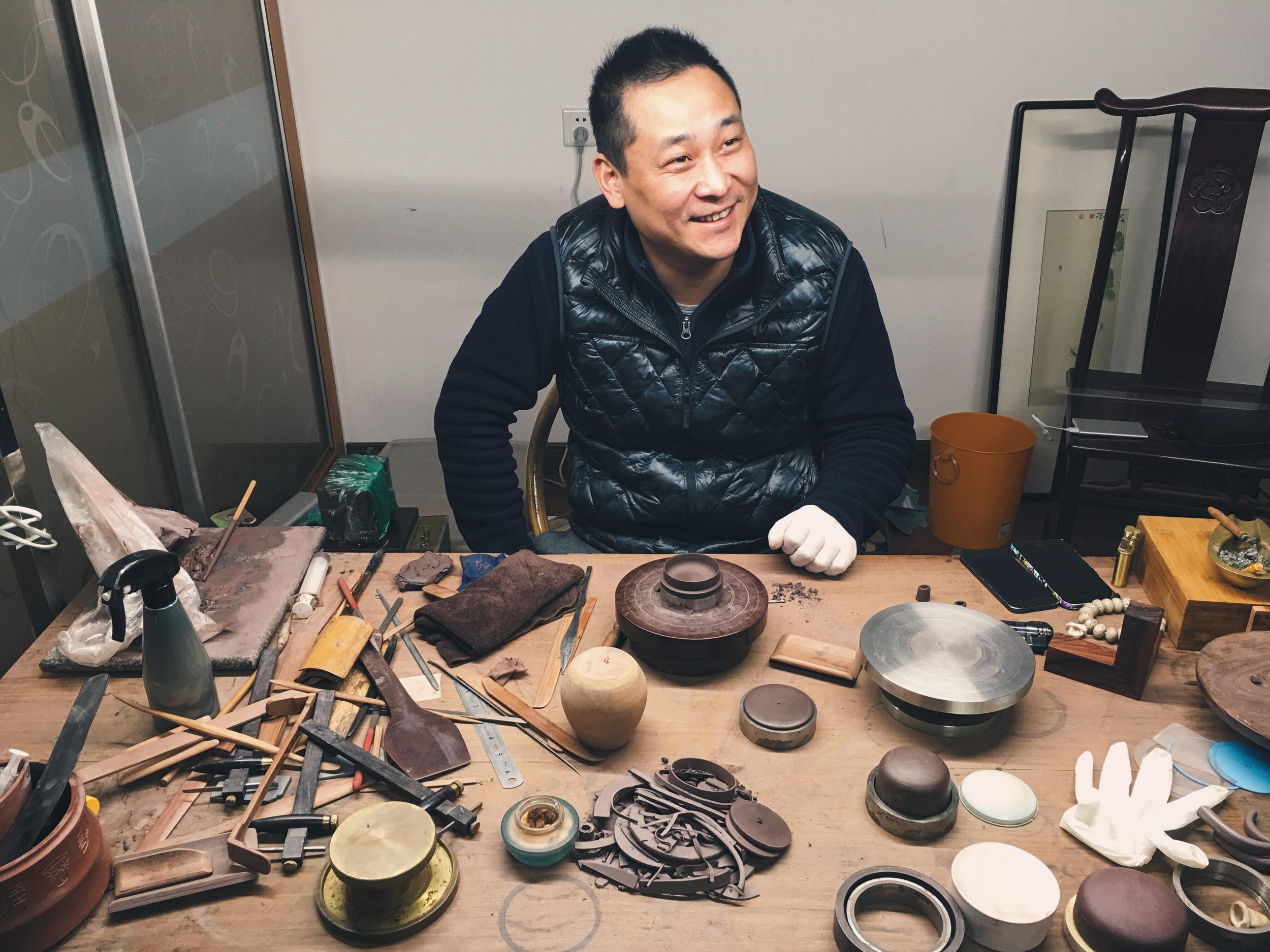 Purple Clay teapot master ceramicist