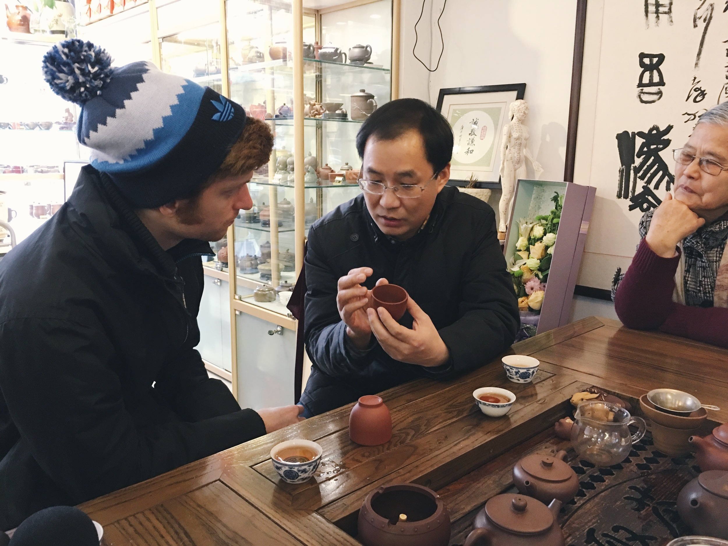 benj and Mr. Fu talking about purple clay properties