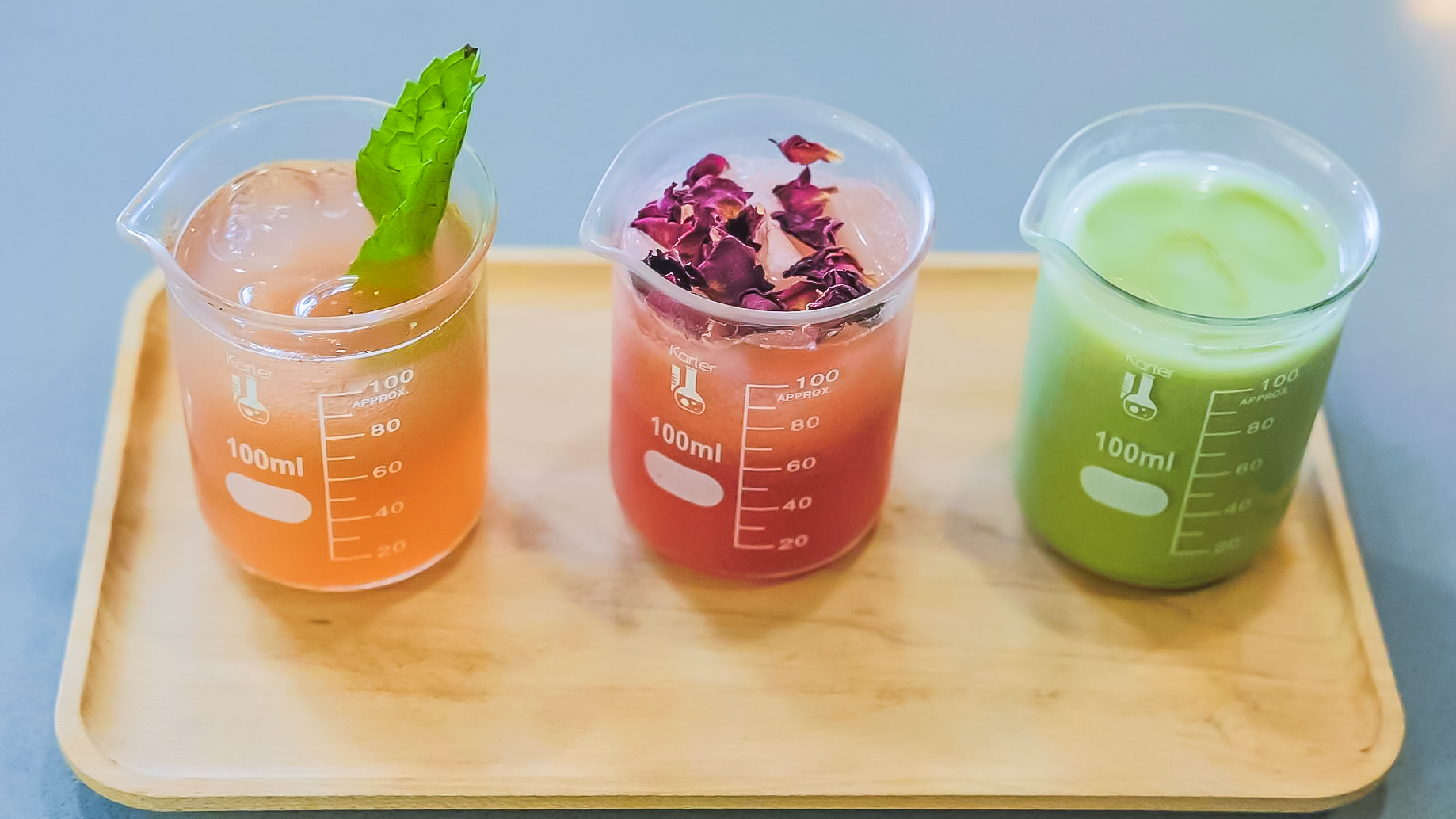 Mocktail Tea Flight featuring our:   Malibu, Rose Noir,    and    Matcha de Leche