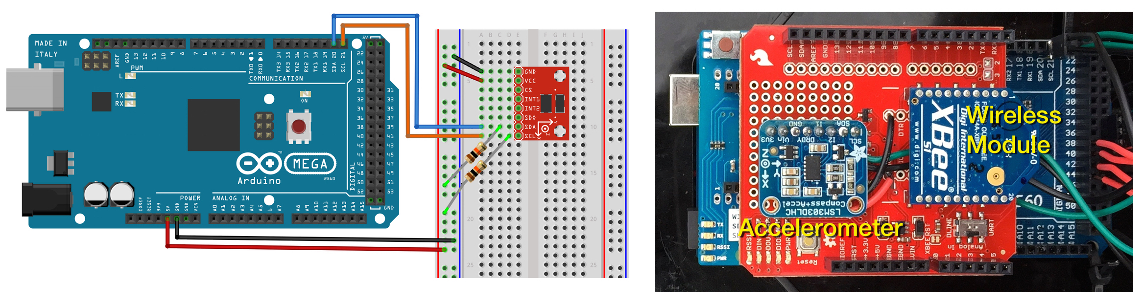 Accelerometer and XBee