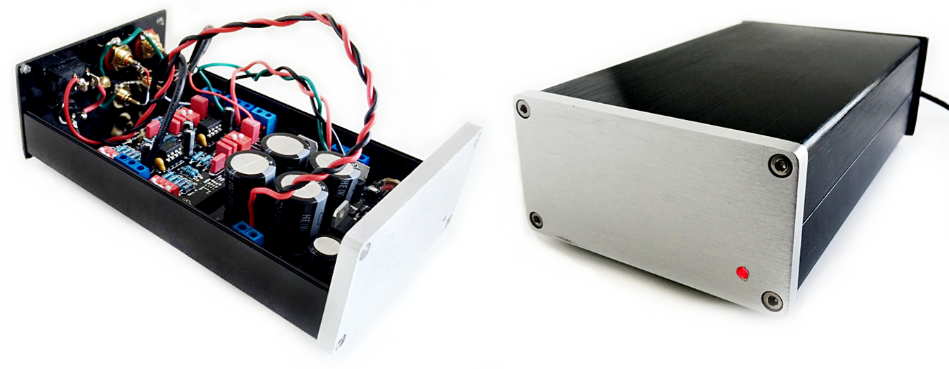 Preamp with enclosure base (left) and fully assembled enclosure with LED power indicator (right).