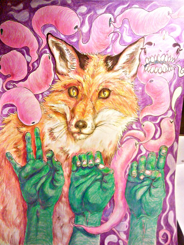 "Twitter     Instagram  Artist: Tunnel Vision  Title: The Mute of the Fox Size: 18""x24"" Mediums: Pen & Color Pencil W.I.P or Done: Done"