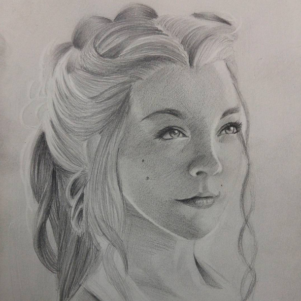 "Instagram  Artist: Amado Carrasco Title: Margaery Size: 9""x12"" Mediums: Pencil  W.I.P or Done: Done"