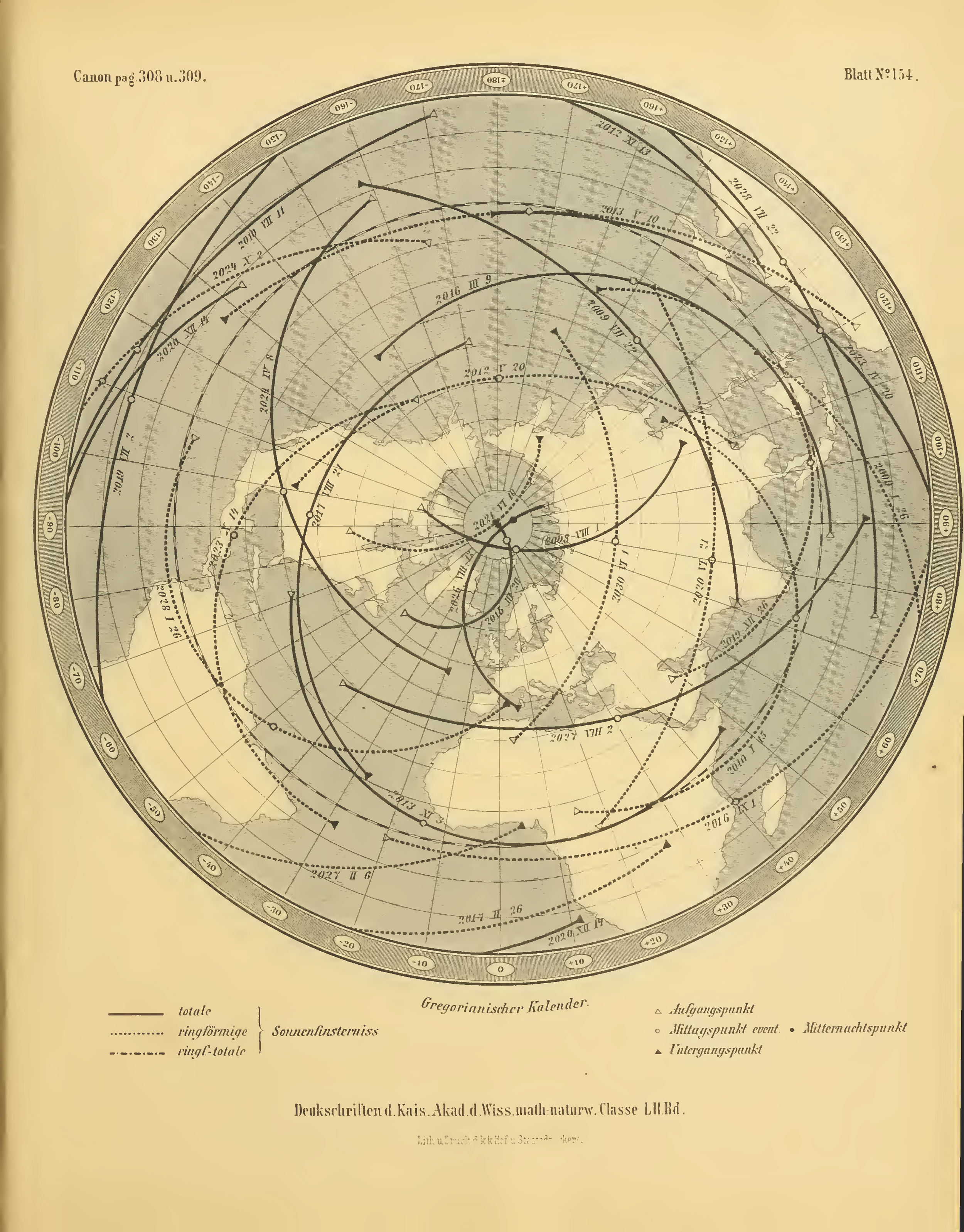 One of the 160 maps in the Canon der Finsternisse showing eclipses from 2008 to 2030