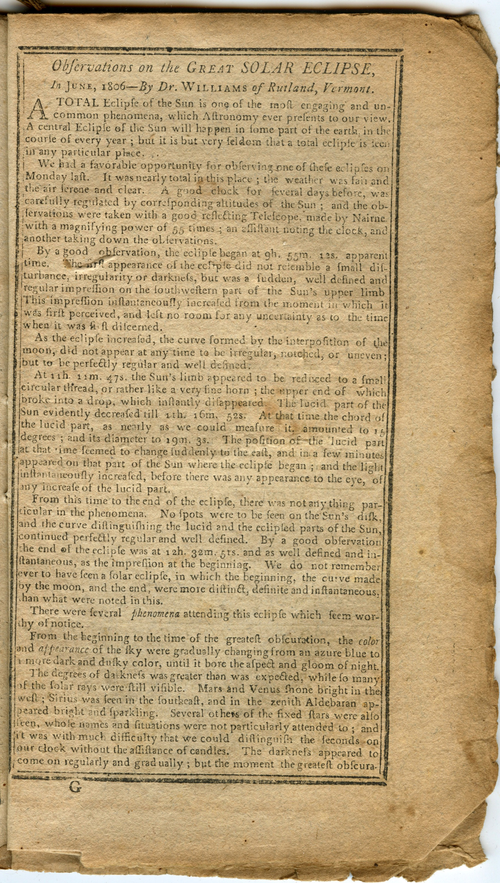 Report of the eclipse in the Hampshire Federalist, July 8, 1806. Collection of Michael Zeiler