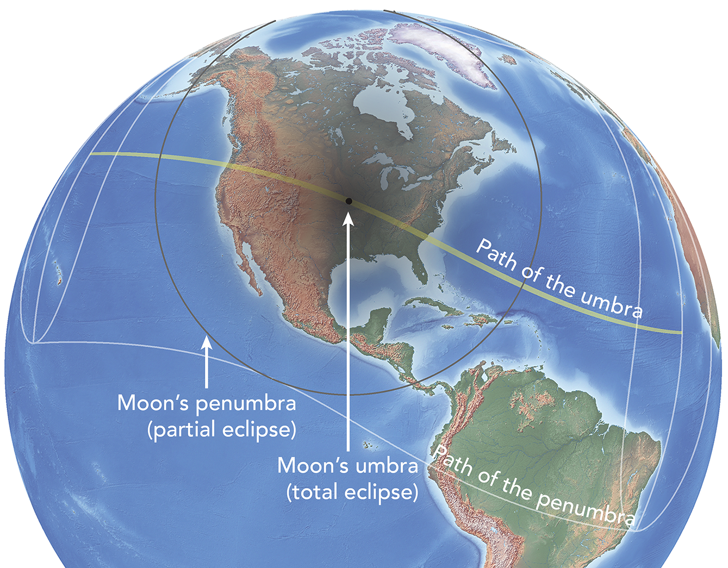 Depiction of the umbra and penumbra at a moment of time during the 2017 total solar eclipse.