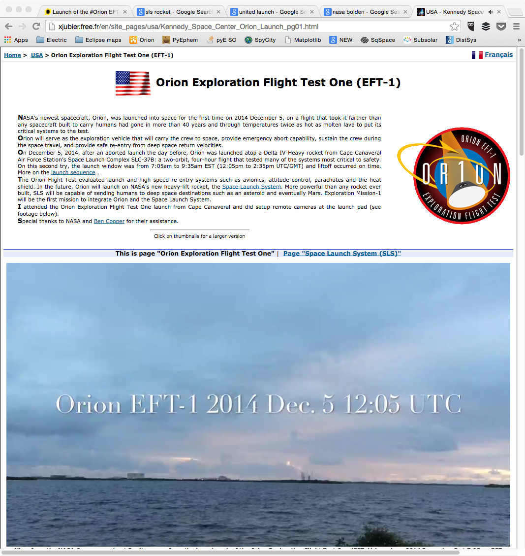My friend xavier jubier had media credentials for the orion launch and captured great close-up photographs of the launch. click on the image to see his web page.
