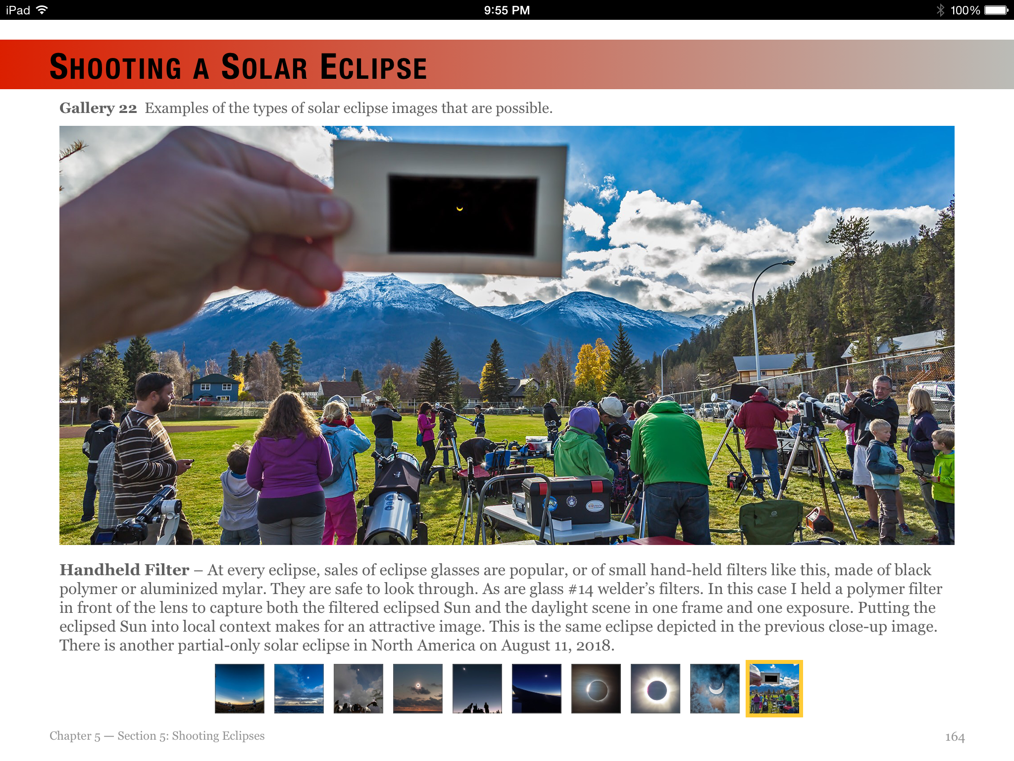 A page from the section on eclipse photography