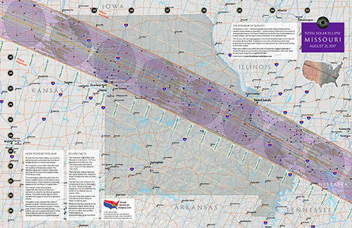 "Click to buy 11"" by 17"" detailed eclipse map of missouri"