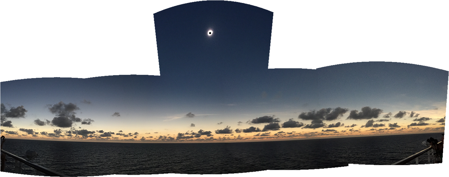 Composite panorama of 6 iphone photos quickly taken during the eclipse