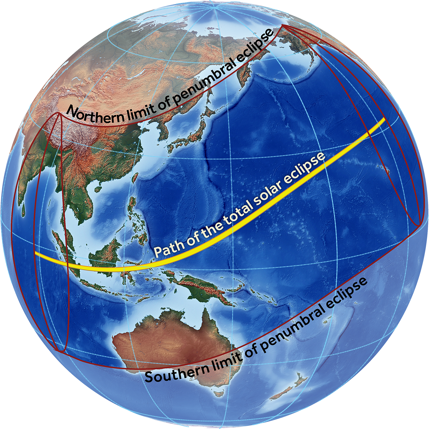 Hemispheric view of the eclipse