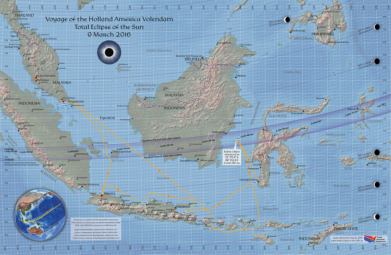Map of the voyage of the volendam and eclipse path