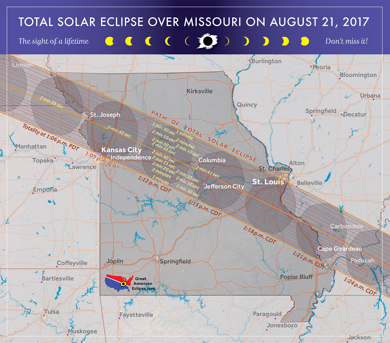 The two major cities of Missouri, Kansas City and St. Louis, greet the great American Eclipse, although citizens in these cities are encouraged to drive 30 miles towards the center of eclipse to enjoy a long eclipse of 2 minutes and 40 seconds.