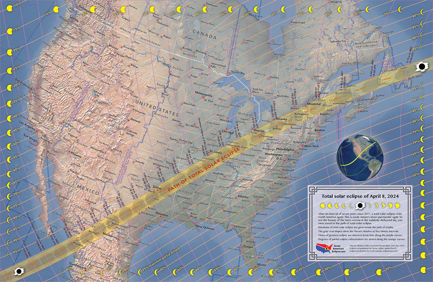 Our new map of the April 8, 2024 total solar eclipse. You can purchase this map at   www.GreatAmericanEclipse.com/Store/