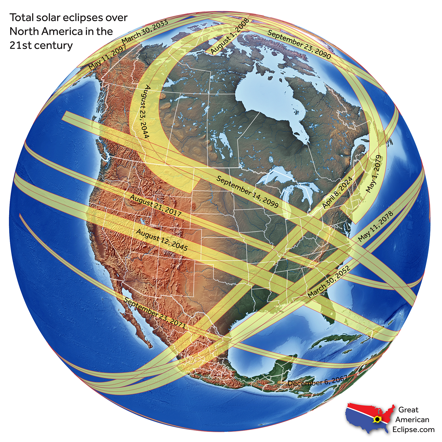 Great American Eclipse Map Future eclipses — Total solar eclipse of April 8, 2024