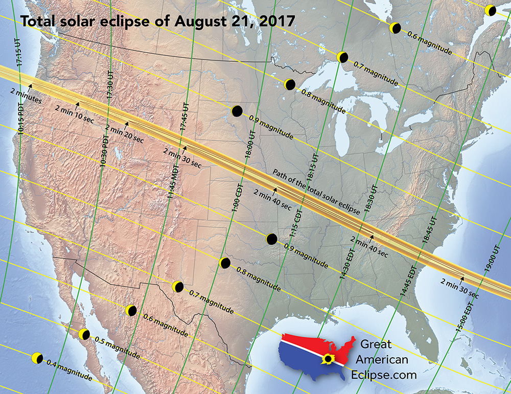 The path of totality across the United States on August 21, 2017 click to enlarge